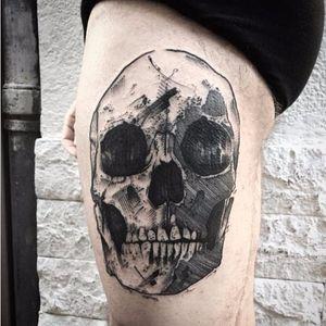 Skull tattoo by Kevin Plane #KevinPlane #sketchstyle #sketch #blackwork #skull