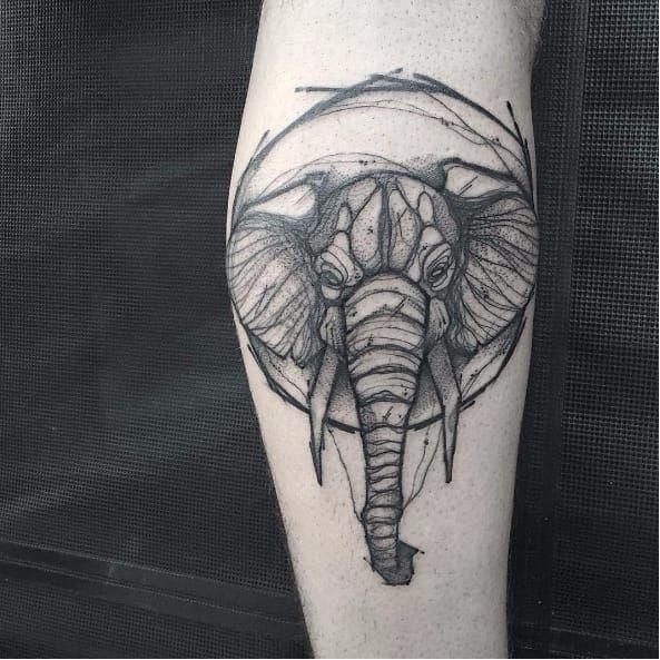 Elephant tattoo by Matteo Gallo #MatteoGallo #trashstyle #graphic #blackwork #sketch #abstract #elephant