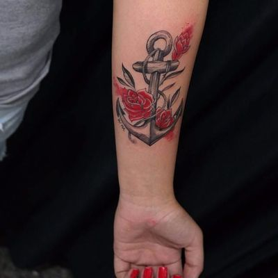 Obra de Andre Felipe. #AndreFelipe #ancoras #anchor #tatuadoresdobrasil #rosas #roses #corda #rope
