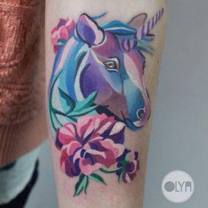 Unicorn tattoo, photo from Instagram #watercolor #OlyaLevchenko #unicorn #unicorntattoo