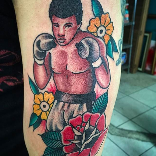 Solid Traditional Muhammad Ali Tattoo by @SharkyTattoos #SharkyTattoos #MuhammadAli #MuhammadAliTattoo #CassiusMarcellusClay #CassiusClayTattoo #Tribute #GOAT #TheGreatest #Boxing #Champion