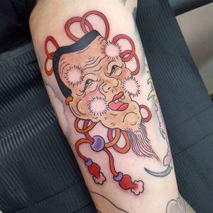 Okina Mask Tattoo by Jan Willem #okina #okinamask #japanese #traditionaljapanese #irezumi #JanWillem