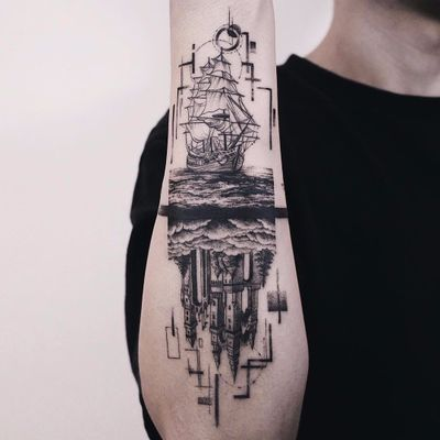 Split landscapes by Hoon Unco #HoonUnco #blackwork #linework #dotwork #abstract #realism #realistic #hyperrealism #boat #ship #ocean #clouds #castle #moon #sun #sky #landscape #tattoooftheday