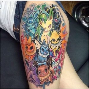 Now that's a hell of piece. Eevee is beautiful in all of her evolutions. #pokemongo #pokemontattoos #pokemon #eevee #jolteon #flareon #vaporeon #umbreon #espeon #glaceon #leafeon