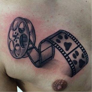 3D film roll tattoo by Trix #Trix #filmroll #3d #pawprint #blackandgrey