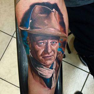 John Wayne Tattoo by Drew Shurtleff #johnwayne #johnwaynetattoo #wildwest #hollywood #hollywoodtattoos #movie #films #movietattoos #cowboy #DrewShurtleff