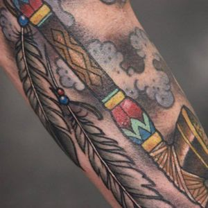 Peace Pipe Tattoo by Chris Libby #peacepipe #pipe #smoke #feathers #NativeAmericaTattoo #traditional #ChrisLibby