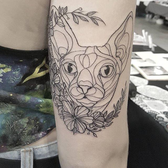 Sphynx Cat Tattoo by Eloise Entraigues #sphynxcat #linework #blacklinework #contemporary #illustrative #EloiseEntraigues