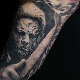 Michael Myers tattoo by Edgar Ivanov. #realism #Halloween #MichaelMyers #blackandgrey #blackandgreyrealism #EdgarIvanov