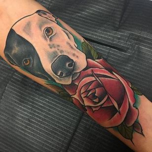 Pit bull and rose tattoo by Nate Corder. #neotraditional #rose #redrose #dog #pitbull #NateCorder