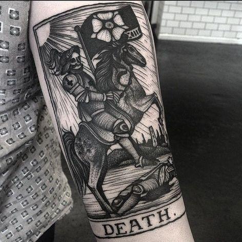 A morte #KellyViolet #tarot #tarô #tarotcard #tarottattoo #tarotstyle #exoterico #exoterismo #morte #death #horse #cavalo #skull #caveira #man #homem #bandeira #flag #flor #flower #sol #sun