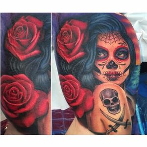 This example of La Catrina by Megan Massacre (Instagram @megan_massacre) perfectly illustrates the intersection of American traditional tattooing and this famous Mexican figure. #color #LaCatrina #MeganMassacre