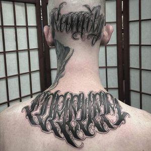 'Family Forever' Tattoo by Dean James Mcleod #lettering #script #darklettering #blackwork #blacklettering #DeanJamesMcleod