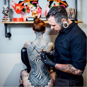 Tattoos by Glenn Cuzen, on Jade Cuzen #GlennCuzen #JadeCuzen #bodysuit #geometric #mandala #blackwork (Photo from Glenn's Instagram by Matthew Harris)