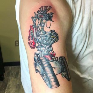 Johnny 5 wants revenge. By Jonny Heartbreaker (via IG -- heartbreaker_tattoos) #jonnyheartbreaker #johnny5 #johnnyfive #johnny5tattoo #shortcircuit #shortcircuittattoo