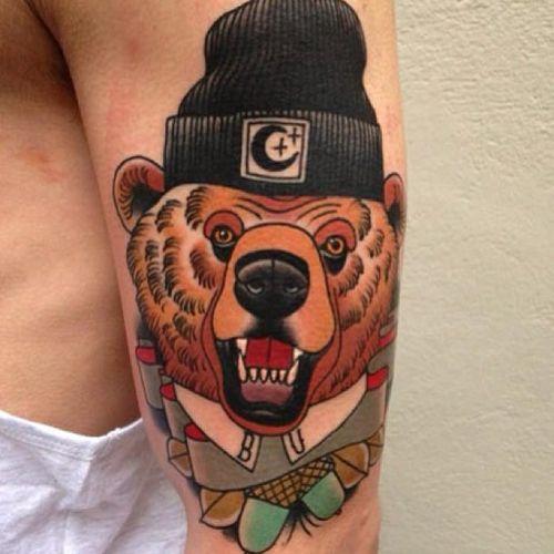 Hell yeah, you go, beanie bear. #bear #beartattoo #bearswearinghats #bearswearinghatstattoo