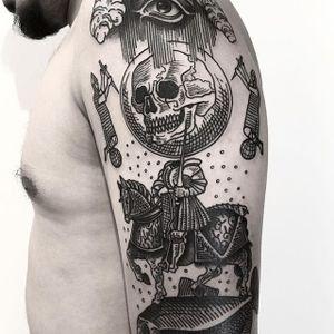 Skull Tattoo by Massimo Gurnari #knight #skull #horse #skull #blackwork #illustrative #darkart #etching #linework #MassimoGurnari