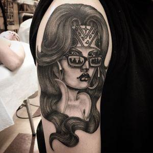 Girl Tattoo by Chuco Moreno #ChicanoGirl #ChicanoTattoos #BlackandGrey #CaliforniaTattoos #FineLine #LatinAmerican #ChucoMoreno