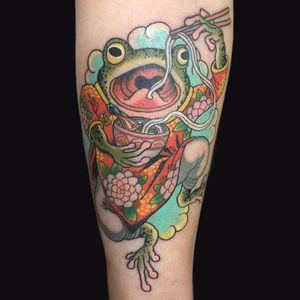 Tattoo by Wendy Pham #WendyPham #TaikoGallery #WenRamen #newtraditional #color #Japanese #mashup #frog #animal #ramen #foodtattoos #noodles #pattern #flowers #cloud #chopsticks