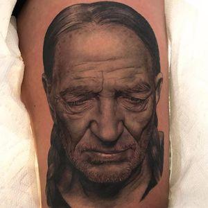 Willie Nelson by Jamie Mahood #JamieMahood #realism #realistic #hyperrealism #portrait #blackandgrey #WillieNelson #countrymusic #face #tattoooftheday