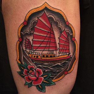 Junk Ship Tattoo by Becca Genne-Bacon #junkship #junkboat #junk #asianboat #chineseboat #chineseboats #chinesetattoo #traditional #BeccaGenneBaccon
