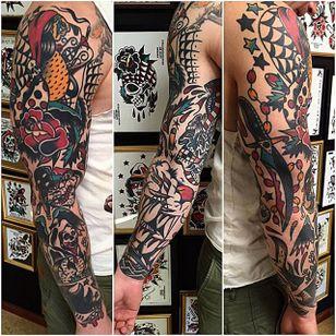 Sleeve Tattoo by Matt Andersson #traditional #traditionalartist #oldschool #classic #boldwillhold #MattAndersson