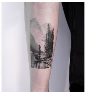 Landscape tattoo by Emma Bundonis #EmmaBundonis #blackandgrey #realistic #landscape