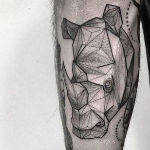 Rhino tattoo by Fin T. #FinT #malaysia #geometric #animal #origami #pointillism #dotwork #rhinoceros #rhino