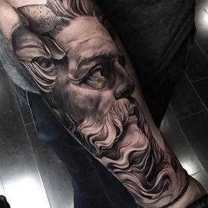 Poseidon tattoo #NicoNegron #blackandgrey #statue #poseidon #realistic #poseidontattoo