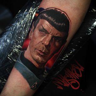 Spock tattoo by mashkow on Instagram. #spock #leonardnimoy #startrek #scifi #portrait #colorrealism