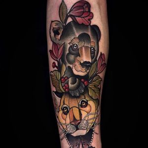 A bear cub and panther being fancy as fuck, by Chris Green (via IG—imchrisgreen) #neotraditional #animal #creature #ornate #chrisgreen