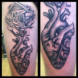 Tree House Tattoo by Amalie Ink #treehouse #creativetattoo #fantasy #AmalieInk