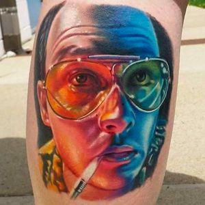 Johnny Depp as Hunter S. Thompson. Incredible tattoo by Bryan Merck. #BryanMerck #tattoo #HST