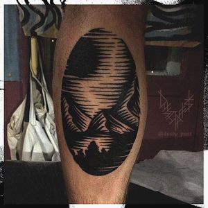 Linocut Landscape Tattoo by Eugene Nedelko #blackwork #blckwrk #linocut #linocutlandscape #landscape #print #mountain #sun #EugeneNedelko