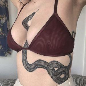 Healed snake by Richard Warnock #RichardWarnock #blackwork #snake #linework #tattoooftheday