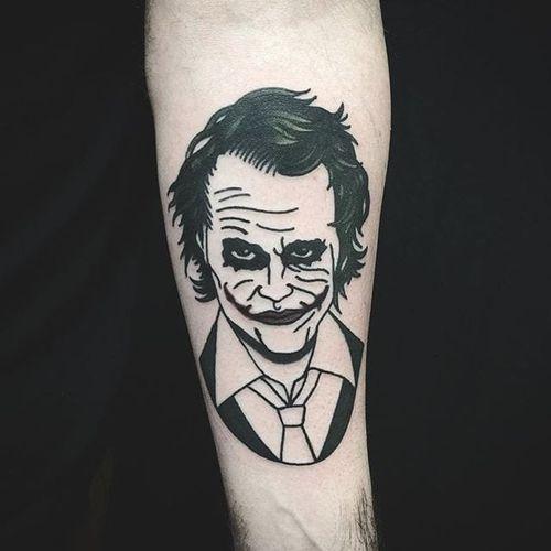 Heath Ledger's The Joker. #Cooley #MattCooley #blackwork #traditional #blackwork #joker #HeathLedger