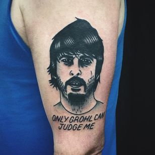 Dave Grohl Tattoo by Matt Cooley #traditional #traditionalportrait #MattCooley #DaveGrohl