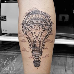 Mashup tattoo by Volken #Volken #dotwork #dotshading #lightbulb #hotairballoon #creative
