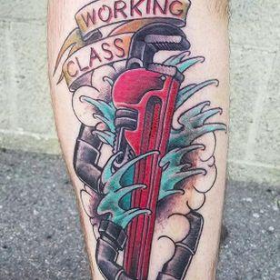 Plumber tattoo by Brad Snow (via IG -- bradsnowtattoos) #bradsnow #plumbing #plumbingtattoo #plumber #plumbertattoo