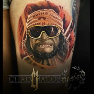 Randy Savage Tattoo by Chad Jacob #RandySavage #Portrait #ColorPortrait #PortraitTattoos #ColorRealism #ChadJacob #randysavage