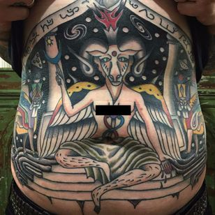 Baphomet and Lamassu's by Matt Bivetto #MattBivetto #color #newtraditional #surreal #baphomet #lamassu #deity #protector #stars #wings #text #horns #devil #satan #satanicgoat #galaxy #fire #tattoooftheday