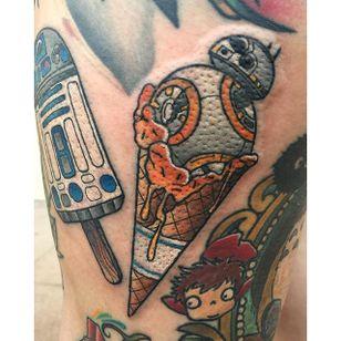 BB-8 Ice Cream Tattoo by Jay Joree #popsicle #popsicletattoo #popculture #gamertattoos #movie #JayJoree