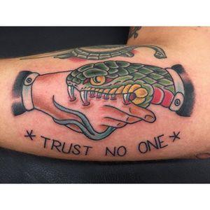 Snake Handshake Tattoo by Gibbs Scott #snakehandshake #handshake #snake #traditional #GibbsScott