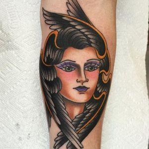 Bird lady via @deandenney #DeanDenney #traditional #ladyhead #bird