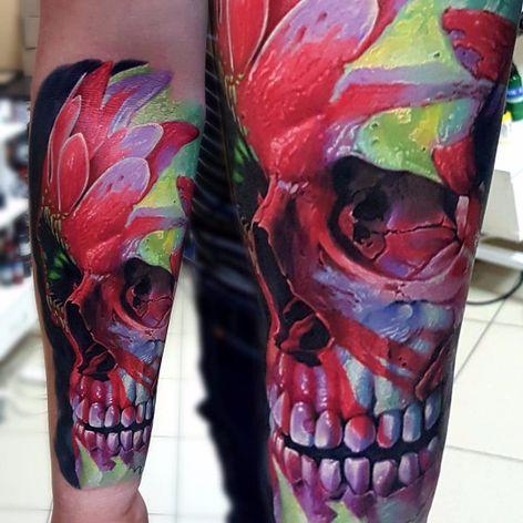Caveira feita de flores #VasilySuvorov #gringo #realismo #realism #realismocolorido #skull #caveira #cranio #flor #flower