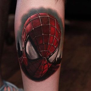 Spiderman realistic portrait tattoo by Richie Bon. #Spiderman #marvel #comic #superhero #movie #film #civilwar #colorrealism #RichPineda #richiebon