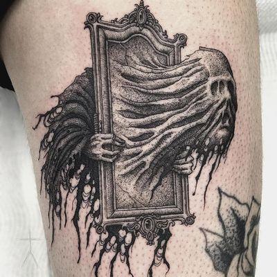 Spectre tattoo by Christopher Jade #ChristopherJade #besttattoos #blackandgrey #dotwork #newtraditional #illustrative #ghost #spectre #mirror #haunted #horror #death #darkart #frame #tattoooftheday