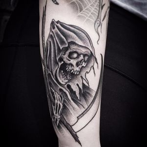 Reaper by Kristi Walls #KristiWalls #blackandgrey #blackwork #grimreaper #reaper #skull #skeleton #scythe #cloak #bones #death #tattoooftheday