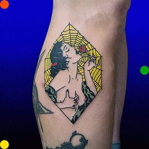 Pin up tattoo by Roman Shcherbakov. #RomanShcherbakov #trippy #pinup