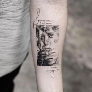 The memory is a mirror. Tattoo by Balazs Bercsenyi #balazsbercsenyi #trippytattoos #blackandgrey #portrait #eyes #lips #face #mirror #script #text #quote #warped #surreal #realism #realistic